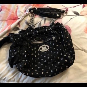 Black and silver polka dot juicy couture purse